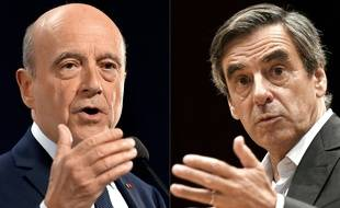 Fillon et Juppe,les candidats à la primaire de droite. / AFP PHOTO / LOIC VENANCE AND JEAN-FRANCOIS MONIER