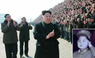 Photomontage de Kim Jong-un en 2015 et lorsqu'il était enfant, un des rares portraits officiels diffusés par l'agence de presse nord-coréenne KCNA.