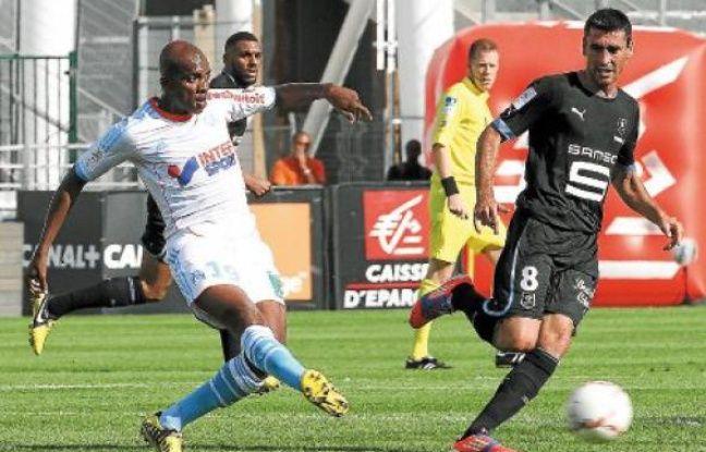 Charles Kaboré a pu jouer au milieu (comme ici face à Rennes) la plupart du temps cette saison, sauf contre Nancy.