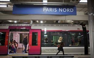 Paris le  21 mars 2013. Illustration transports régionaux, RER et  Transiliens, à la gare du Nord. Voyageurs, usagers de la SNCF et de la RATP.