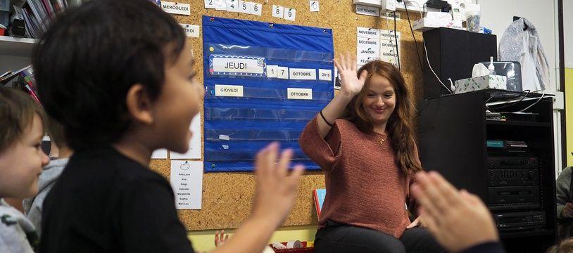 La directrice de l'école, Rosalinda Esposito, dans sa classe jeudi