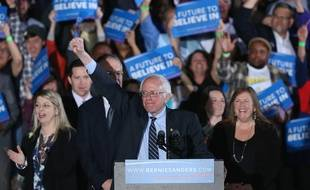 Le candidat démocrate, Bernie Sanders, victorieux dans la primaire du New Hampshire, le 9 février 2016.