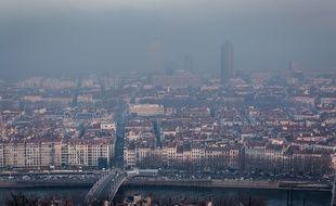 Lyon, le 7 décembre 2016 pendant le pic de pollution. KONRAD K./SIPA