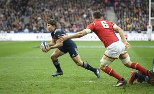 Le demi de mêlée du XV de France Antoine Dupont face au pays de Galles au Stade de France, lors du tournoi des VI Nations, le 18 mars 2017.