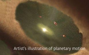 Vue d'artiste de l'étoile LkCa15 entourée de protoplanètes en formation, au milieu du disque protoplanétaire.
