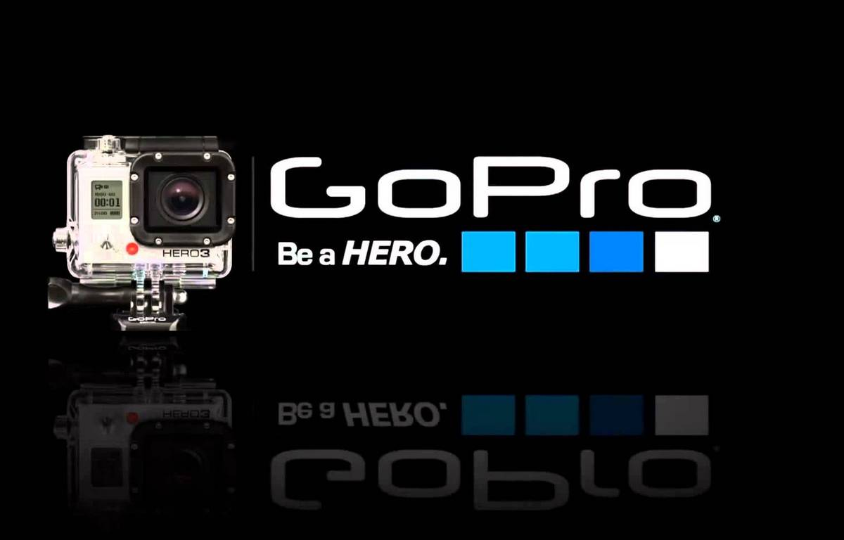 Le logo de la marque de mini caméra sportive GoPro. – GoPro