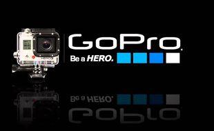 Le logo de la marque de mini caméra sportive GoPro.