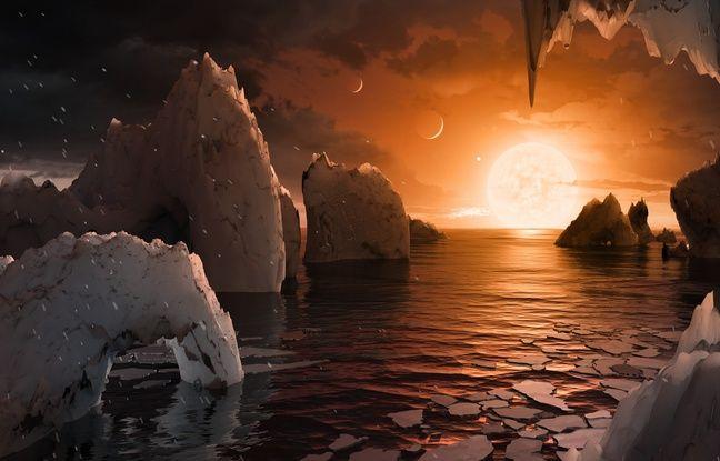 Vue d'artiste du ciel de la planète Trappist 1-f, située à 39 années-lumière de la Terre.