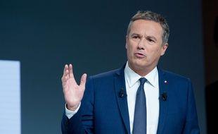 Nicolas Dupont-Aignan, candidat Debout la France, lors d'un débat sur la santé organisé par la Mutualité française à Paris le 21 février 2017