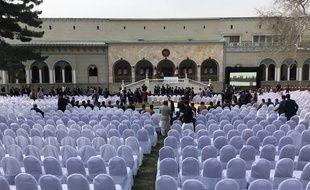 Les préparatifs de la cérémonie d'investiture du président sortant Ashraf Ghani à Kaboul, le 9 mars 2020.