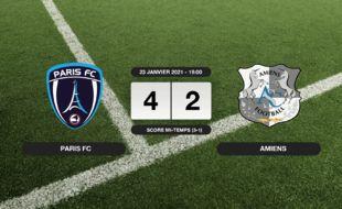 Ligue 2, 21ème journée: 4-2 pour le Paris FC contre Amiens au stade Charléty