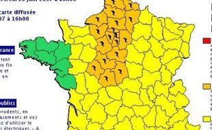 carte Meteo France des orages mercredi 20 juin 2007 alerte orange dans cinq régions
