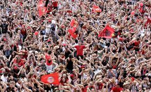 Les supporters du Stade Toulousain célèbrent la victoire de leur équipe en Coupe d'Europe, le 23 mai 2010 sur la place du Capitole.