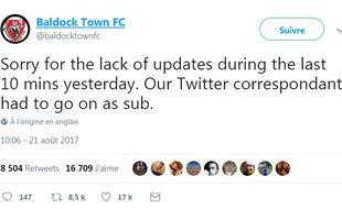 «Désolé pour le manque de mises à jour pendant les 10 dernières minutes hier. Notre correspondant Twitter a dû entrer sur la pelouse».