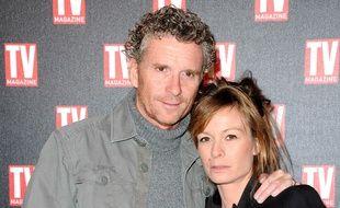 Denis Brogniart et sa femme Hortense lors des 25 ans de TV Magazine, en 2012.