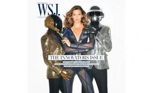 Les Daft Punk et Gisele Bündchen en couverture du Wall Street Journal, en novembre 2013.