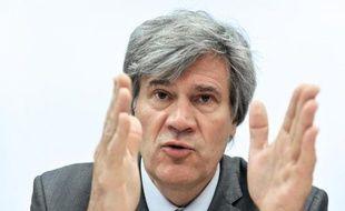 Le ministre de l'Agriculture Stéphane Le Foll, le 14 avril 2014 à Sablé-Sur-Sarthe
