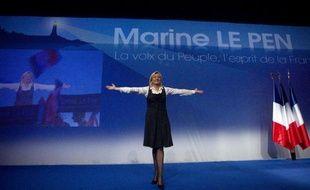 """Marine Le Pen s'est directement adressée, dimanche à Saint-Denis (Seine-Saint-Denis) aux classes moyennes victimes du """"descenseur social"""" et a élargi son discours protectionniste aux services, en plus de l'industrie, lors d'un meeting dont le déroulement a été quelque peu perturbé par une manifestation anti-FN."""