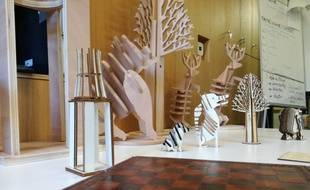 Les pièces du jeu d'échecs géant ont été conçues puis entièrement fabriquées au fablab du Shadok à Strasbourg.