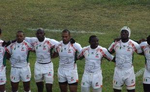 L'équipe de Côte d'Ivoire de rugby lors du match contre l'Algérie, le 1er mars 2014