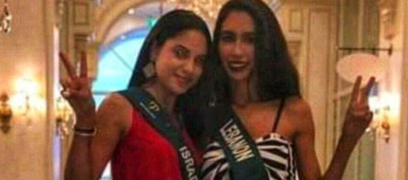 Miss Liban et Miss Israël posant ensemble lors du concours de Miss Terre 2018.