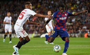 Ousmane Dembélé a marqué contre Séville avant de se faire exclure.