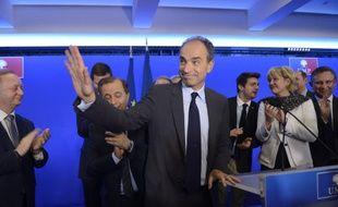 Le président de l'UMP Jean-Francois Copé au quartier général de l'UMP après le second tour, le 30 mars 2014.