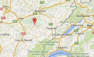Google Map de La Chapelle-sur-Furieuse (Jura).