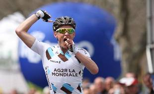 Le coureur de l'équipe AG2R Maxime Bouet, vainqueur de la première étape du Tour du Trentin, le 16 avril 2013.