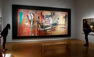 Présentation chez Christie's à New York d'un tableau géant de Jean-Michel Basquiat, le 29 avril 2016