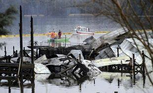 Les bateaux touchés par un incendie dans la nuit du dimanche 26 au lundi 27 janvier à Scottsboro, aux Etats-Unis.