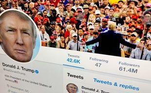Le profil Twitter de Donald Trump, qui compte près de 82 millions d'abonnés.
