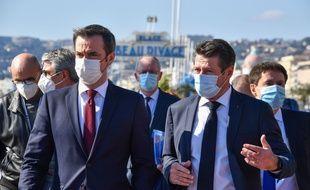 Olivier Véran, et Christian Estrosi, à Nice le 20 février 2021