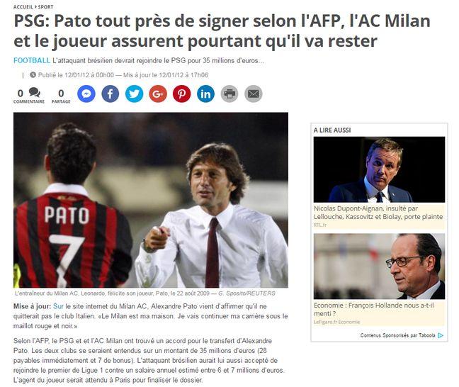 Capture d'écran du site de 20 Minutes.fr le 12 janvier 2012