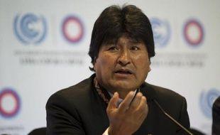 Le président bolivien Evo Morales lors d'une conférence de presse à la COP20 (20e conférence des parties) le 9 décembre 2014 à Lima, au Pérou