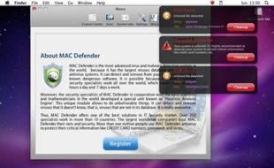 Le malmware MAC Defender, qui se fait passer pour un antivirus.