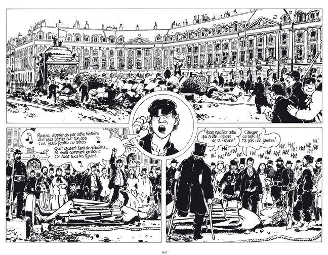 Démolition de la colonne Vendôme, planche extraite du « Cri du Peuple » de Tardi et Vautrin.