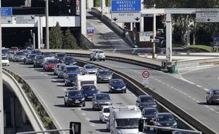 Le trafic routier à Lyon, avant le tunnel de Fourvière, le 11 août 2012.