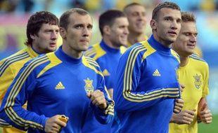 L'équipe d'Ukraine à l'entraînement le 7 juin 2012, à Kiev.