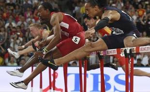 Pascal Martinot-Lagarde n'a pu faire mieux que 4e en finale du 110m haies aux Mondiaux de Pékin, le 28 août 2015.