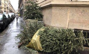 Des sapins abandonnés dans la rue dans le 17e arrondissement.