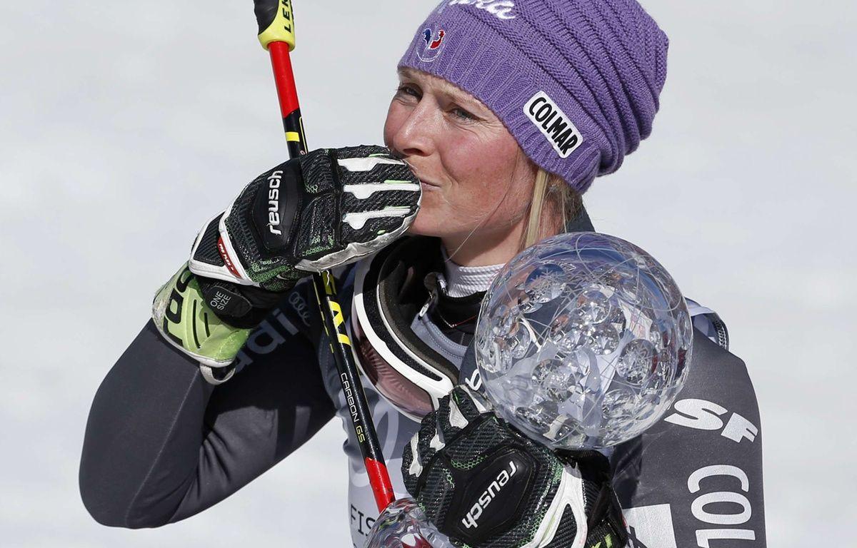 Tessa Worley   a remporté la Coupe du monde de slalom géant, le 19 mars 2017 à Aspen.  – Brennan Linsley/AP/SIPA