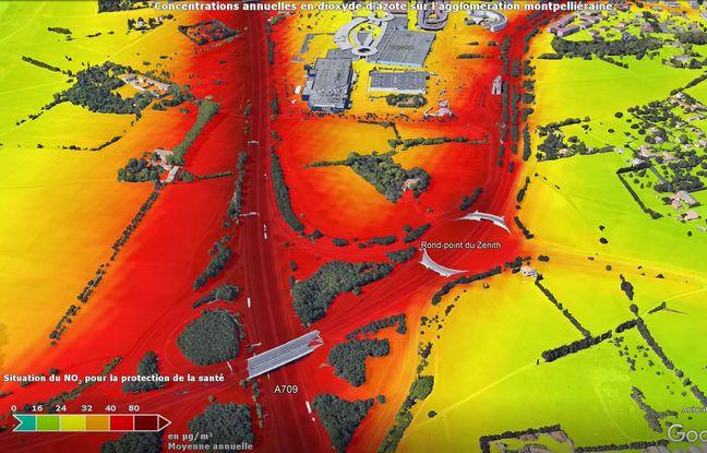 La carte réalisée par Atmo sur le secteur de l'A9 : en rouge, la qualité de l'air est très basse.