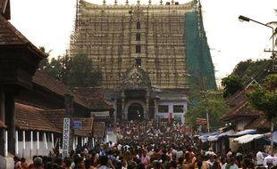 Vue le 3 juillet 2011 du temple de Sre Padmanabhaswamy, à Thiruvananthapuram, dans le sud de l'Inde, où des chercheurs ont découvert un trésor d'une valeur de 14 milliards d'euros.