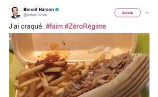 Benoît Hamon s'est fait plaisir avec un petit kebab sauce harissa