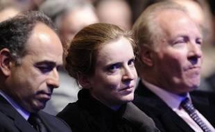Nathalie Kosciusko-Morizet était placée entre jean-François Copé et Brice Hortefeux, lors du meeting de Marseille de Nicolas Sarkozy le 19 février 2012.