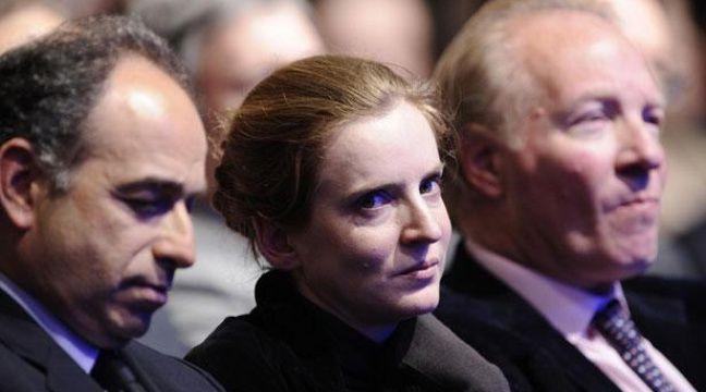 Nathalie Kosciusko-Morizet était placée entre jean-François Copé et Brice Hortefeux, lors du meeting de Marseille de Nicolas Sarkozy le 19 février 2012. – L. BONAVENTURE / AFP