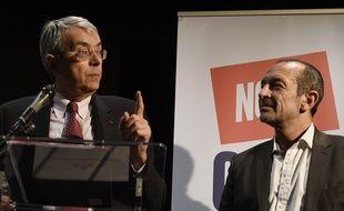 Jean-Jack Queyranne, président socialiste sortant de la région Rhône-Alpes a trouvé un accord avec le PC et Jean-Charles Kohlhass, candidat d'EELV en vue du second tour des régionales en Auvergne-Rhône-Alpes Lyon, le 7 décembre 2015. AFP / PHILIPPE DESMAZES
