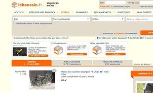 Capture d'écran du site de revente Le Bon Coin