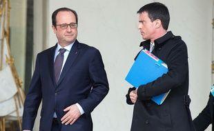 François Hollande et Manuel Valls à l'Elysée le 1er avril 2015.